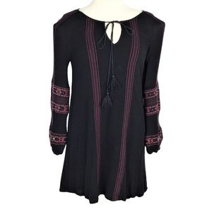 Miss Me M Embroidered Long Sleeve Peasant Dress